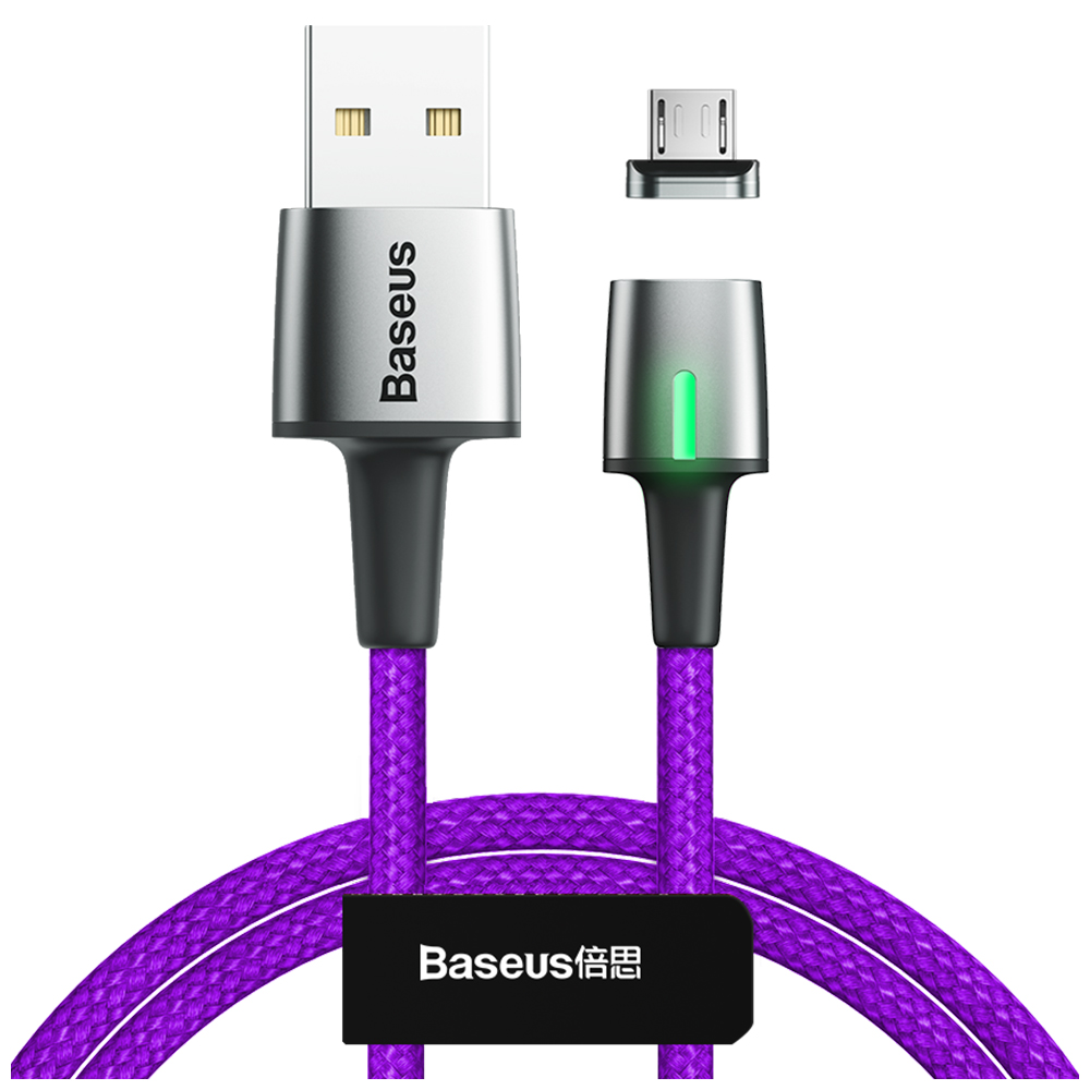 Baseus Zinc Magnetic Cable USB For Micro 2.4A 1m фиолетовый — фото