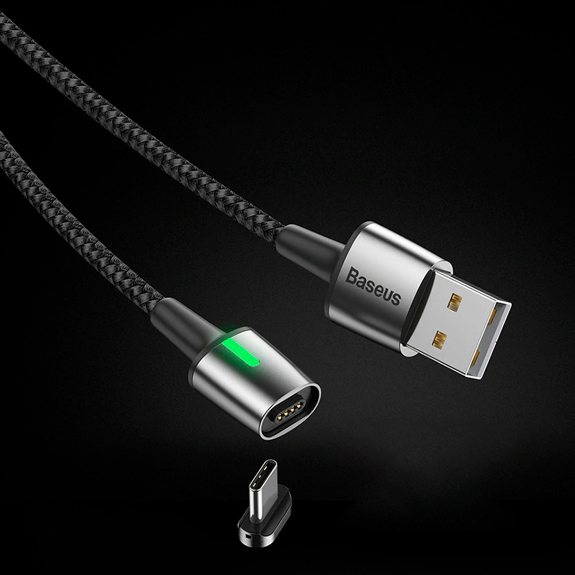 Baseus Zinc Magnetic Cable USB For Type-C 2A 2m черный CATXC-B01 — фото