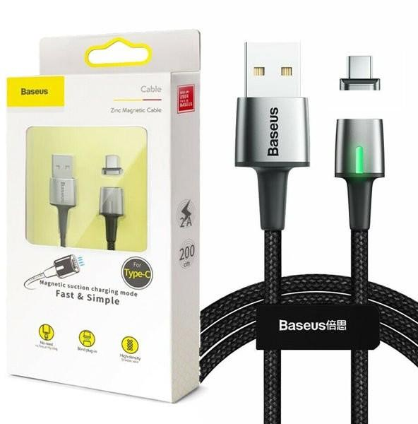 Baseus Zinc Magnetic Cable USB For Type-C 3A 1m черный CATXC-A01 — фото