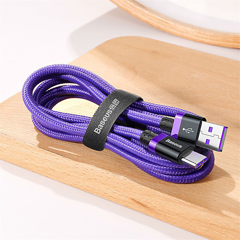 Baseus Purple Gold Red HW flash charge cable USB For Type-C 40W 2m Фиолетовый CATZH-B05 — фото