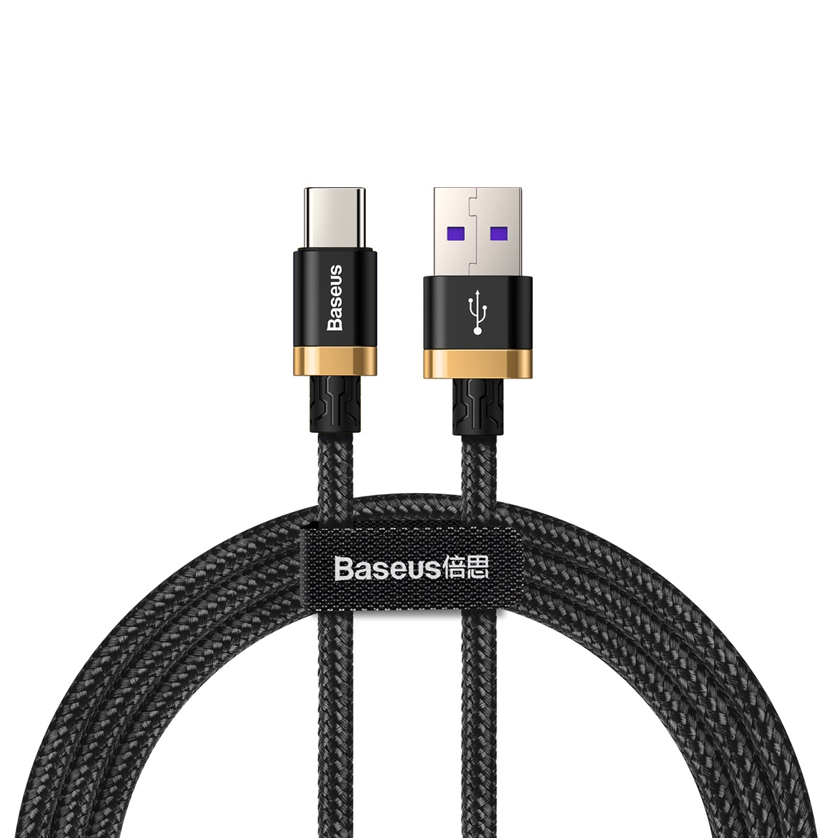 Baseus Purple Gold Red HW flash charge cable USB For Type-C 40W 2m Черно-золотой CATZH-BV1 — фото