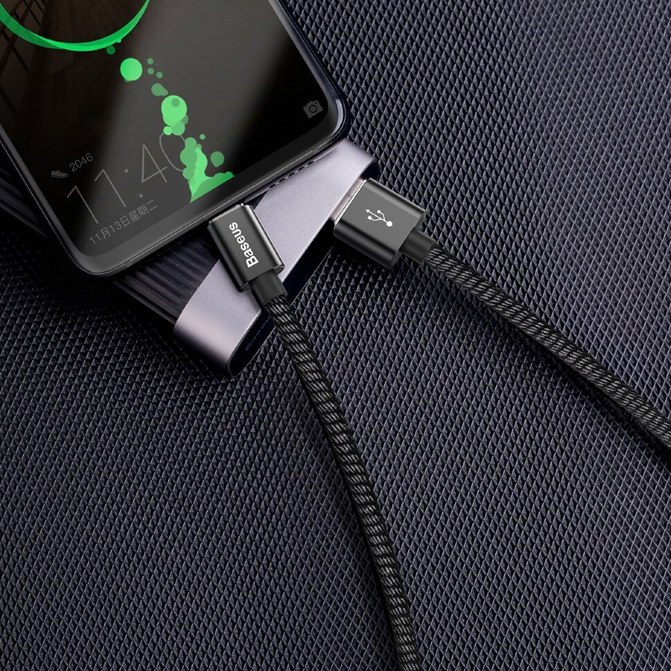 Baseus double fast charging USB cable USB For Type-C 5A 1M Черный CATKC-A01 — фото