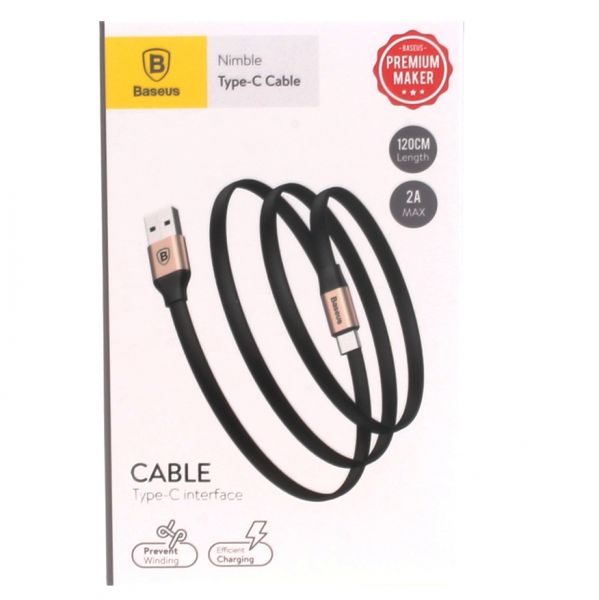 Baseus Nimble Portable Cable For Type-C 2A 1.2M Золотой Черный CATMBJ-A0V — фото