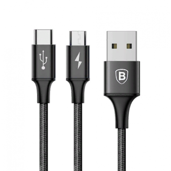 Baseus Rapid Series 2-in-1 Cable Micro+Type-C 3A 1.2M Черный CAMT-ASU01 — фото