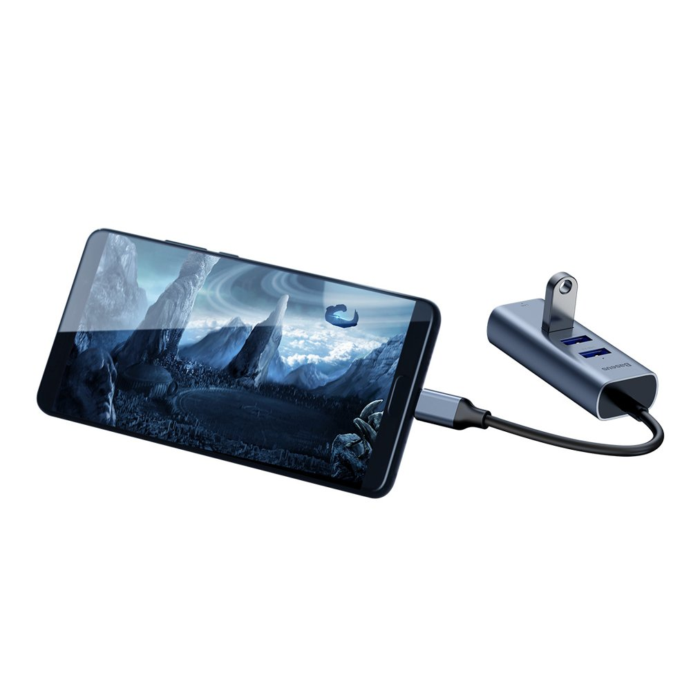Baseus Enjoy series Type-C to USB3.0*4+HDMI HD intelligent HUB adapter Серый CAHUB-N0G — фото
