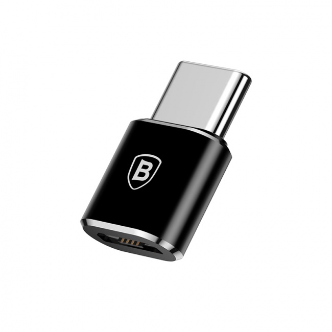 Baseus Micro Female To Type-C Male Adapter Converter 2.4A Черный CAMOTG-01 — фото