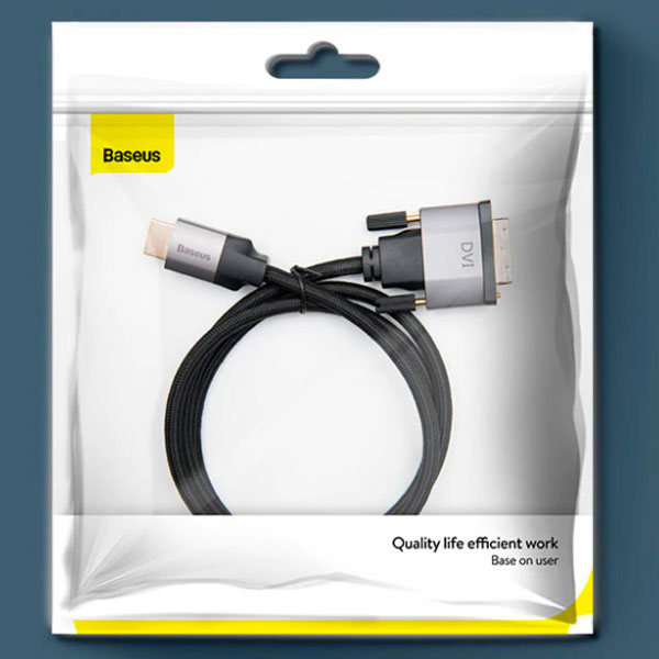 Baseus Enjoyment Series 4KHD Male To DVI Male bidirectional Adapter Cable 1m Темно серый CAKSX-F0G — фото