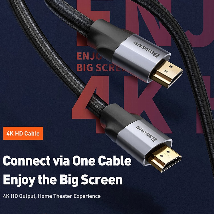 Baseus Enjoyment Series 4KHD Male To 4KHD Male Adapter Cable 1m Темно серый CAKSX-B0G — фото