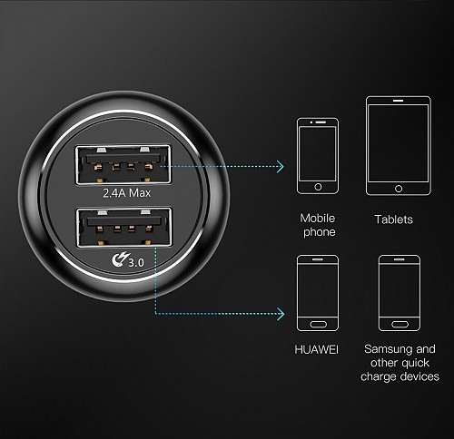 Baseus Gentry series Dual-U Quick -charge Car Charger Черная CCALL-GC01 — фото