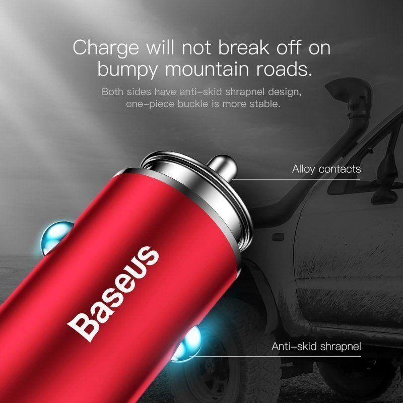 Baseus Gentleman 4.8A Dual-USB Car Charger Красная CCALL-GB09 — фото