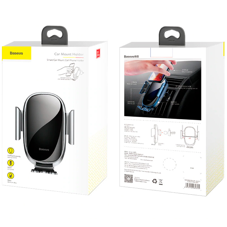 Baseus Smart Car Mount Cell Phone Holder Серебро SUGENT-ZN0S — фото