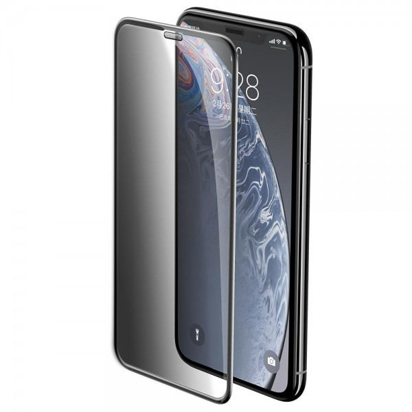 Baseus Full-screen Curved Privacy Tempered Glass Film (Cellular Dust Prevention) (2pcspack+Pasting Artifact) for iP XR/11 6.1inch2019Black — фото