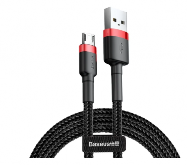 Baseus cafule Cable USB For Micro 2.4A 0.5M красный+черный