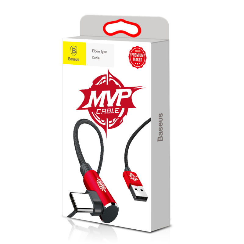 Baseus MVP Elbow Type Cable USB For Type-C 2A 1M Красный CATMVP-A09
