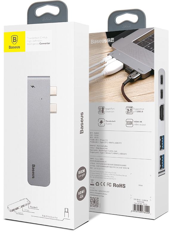 Baseus Thunderbolt C+ Dual Type-C to USB3.0/HDMI/Type-C Female HUB Converter Deep Space Gray CAHUB-B0G